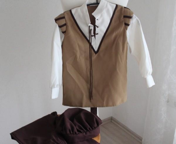 Kinder Mittelalter Kostüm Gr. 128 Hemd Hose Mütze