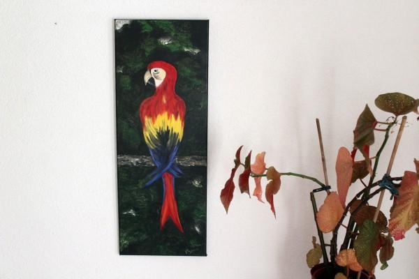 Der Papagei Bild gemalt Acrylbild längliche Form 30 x 80 cm