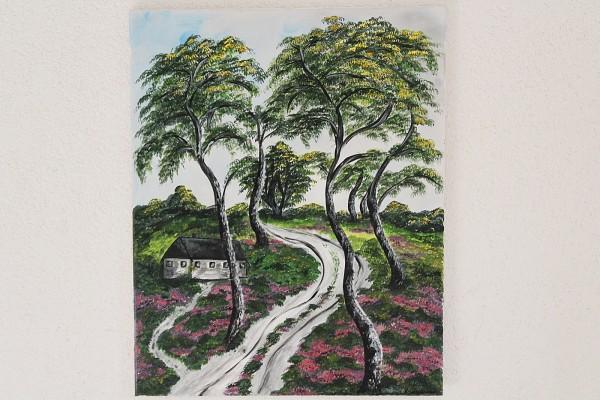 Bild gemalte Landschaft Birken und Heide 40 x 50 Gemälde