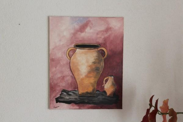 Zwei Krüge gemaltes Bild Stillleben 40 x 50 Wandbild Hochformat