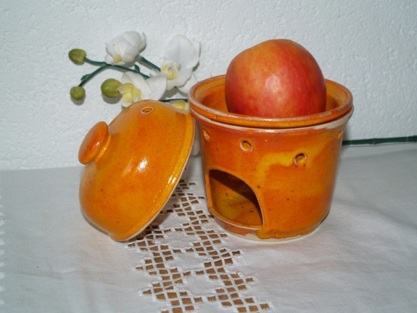 Apfelbräter in orange Keramik 3-teilig getöpfert