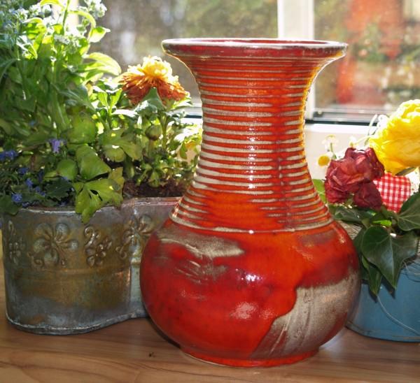 Vase Keramik Blumenvase getöpfert rote Keramik