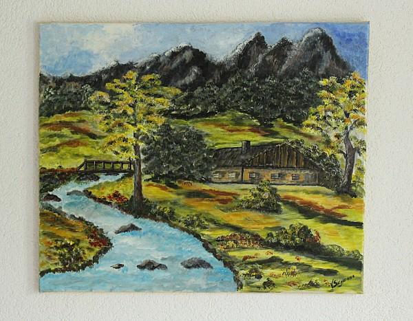 gemaltes Bild Landschaftsbild Haus am Fluss 60 x 50
