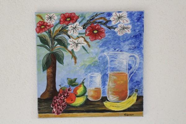 Stillleben Bild mit Blumen und Obst handgemalt Leinwand
