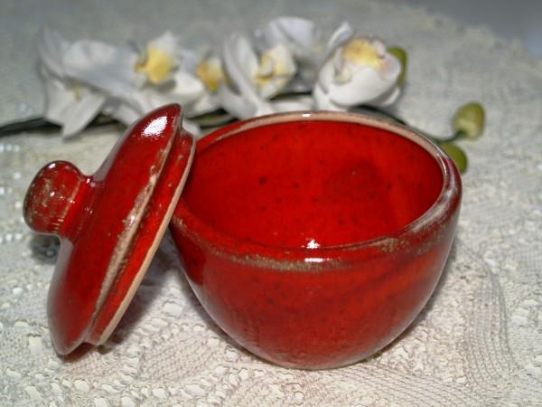 Zuckerdose rote Keramik getöpfert Mohn Geschirr Serie