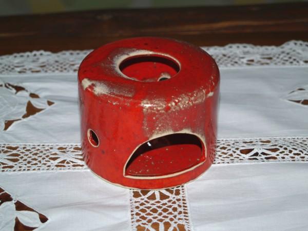 Stövchen klein aus Keramik rot getöpfert