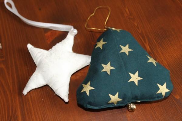 Glocke und Stern genäht Set Anhänger Weihnachten