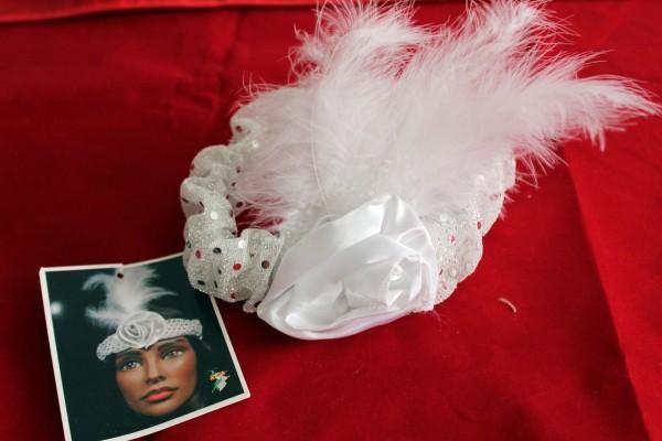 weißes Haarband Kostüm Zubehör 20er Jahre
