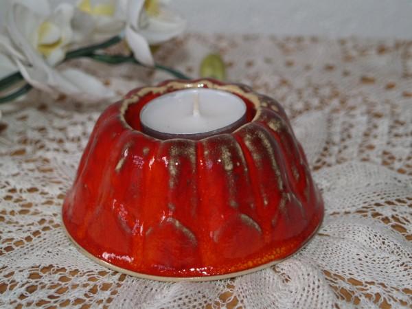 Teelichthalter Kuchen roter Keramik Kerzenständer getöpfert