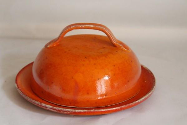 Käseglocke groß getöpfert orange Keramik