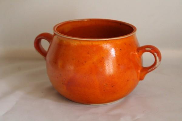 Tontopf Vorratstopf Ohrentopf Keramik Topf orange