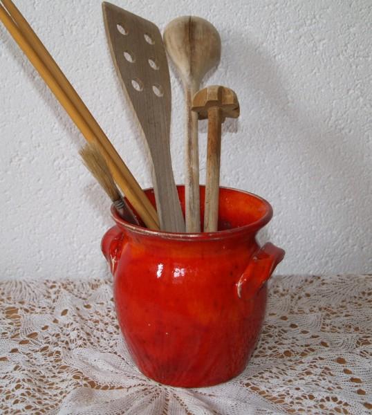 Topf für Kochlöffel rote Keramik aus der Töpferei