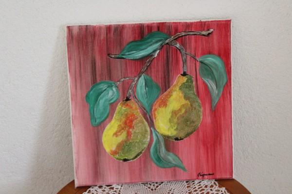 Küchenbild rot mit Birnen 30 x 30 handgemaltes Bild