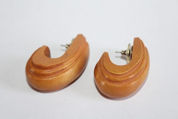 Ohrstecker Holz Optik halbe Creole Ohrringe im Retro Stil