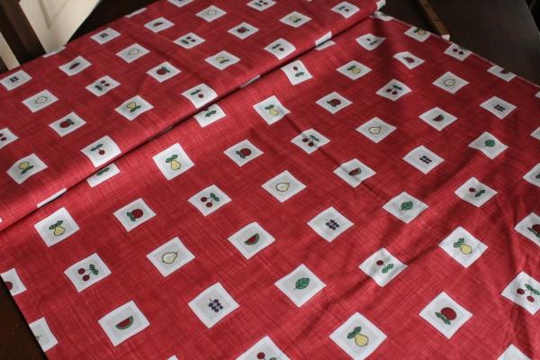 Stoff BW Patchwork Dekostoff rot Motiv Obst B 1,40 m