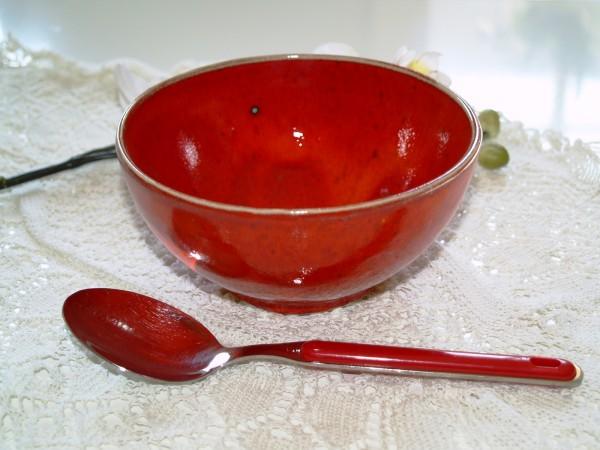 Schüssel Müslischale rote Keramik Schale getöpfert