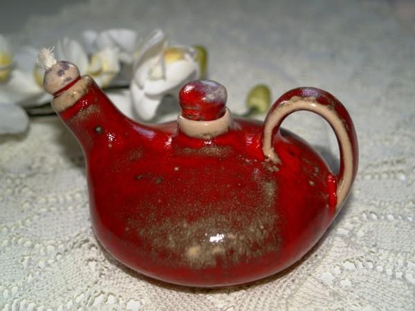 Öllampe getöpfert rote Keramik Mohn Handarbeit