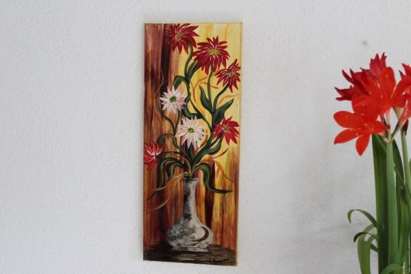 gemaltes Stillleben Bild Blumenstrauß Acryl auf Leinwand