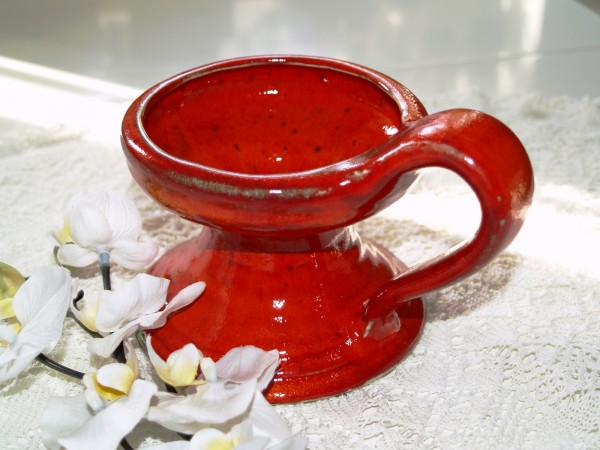 roter Kerzenständer groß aus Keramik getöpfert