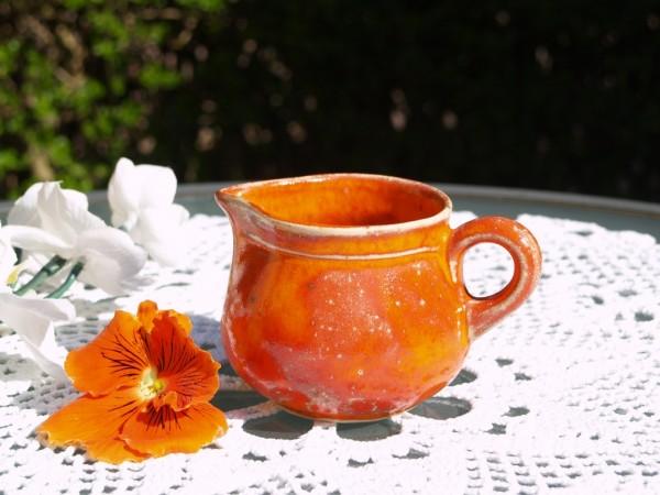 Milchkännchen Sahnekännchen orange Keramik getöpfert