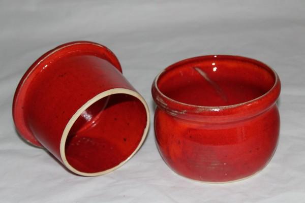 rote Butterdose groß runde französiche Form Keramik getöpfert