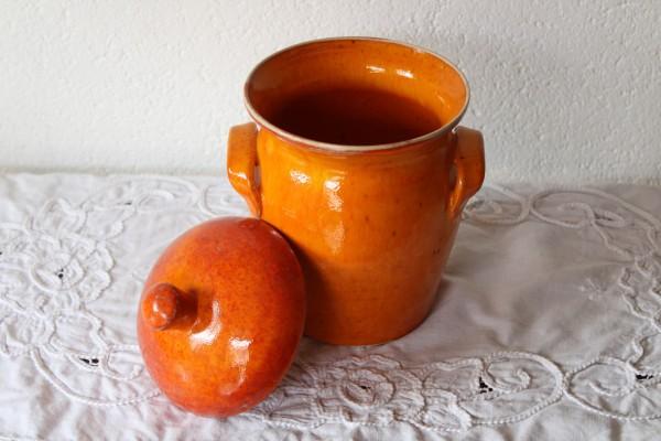 Keramik Vorratstopf Zucker Mehl orange Handarbeit