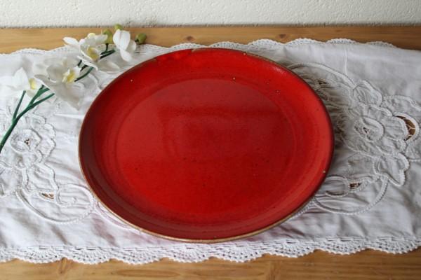 Teller extra groß Pizza Kuchen Kermik rot