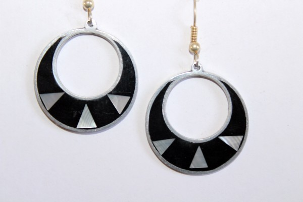 Ohrringe runde Ohrhänger schwarze Ringe Modeschmuck