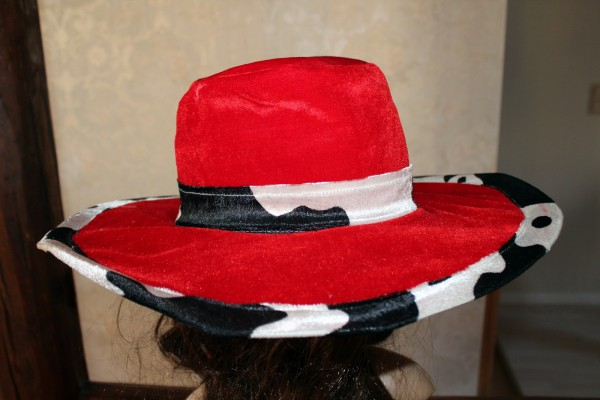 großer roter Hut aus Samt Kostüm Zubehör