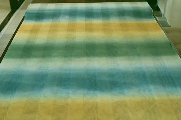 Stoff Dekostoff grün gelb blau Vorhang Gardinen transparent