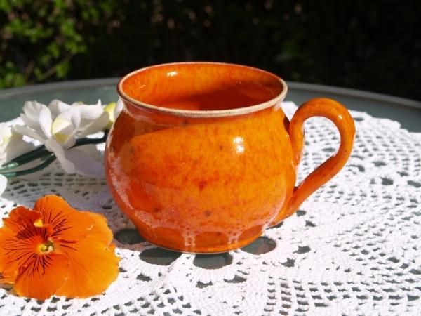 Tasse orange Kaffeetasse Teetasse getöpfert Handarbeit