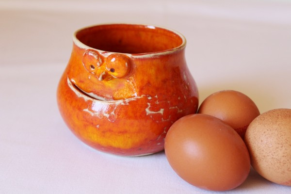 Eitrenner orange Eiertrenner Keramik getöpfert