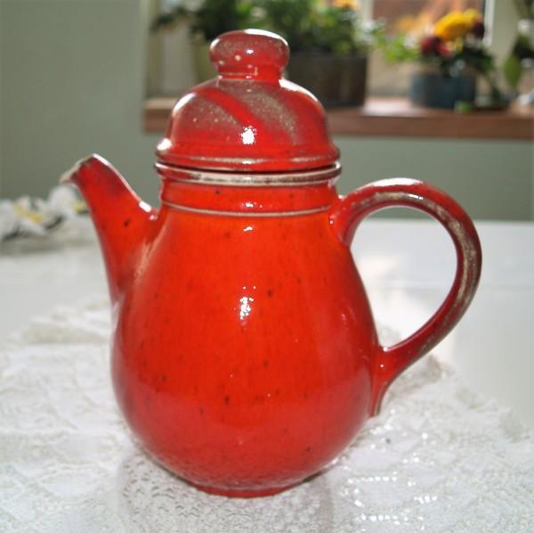 Kaffeekanne rote Keramik Serie Mohn Kanne Töpferware Handarbeit