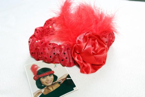 rotes Haarband mit Federn Kostüm Zubehör 20er Jahre