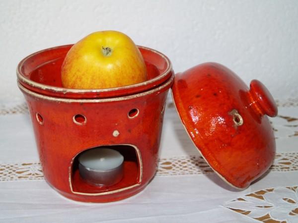 Apfelbräter rote Keramik 3-teilig getöpfert Bräter