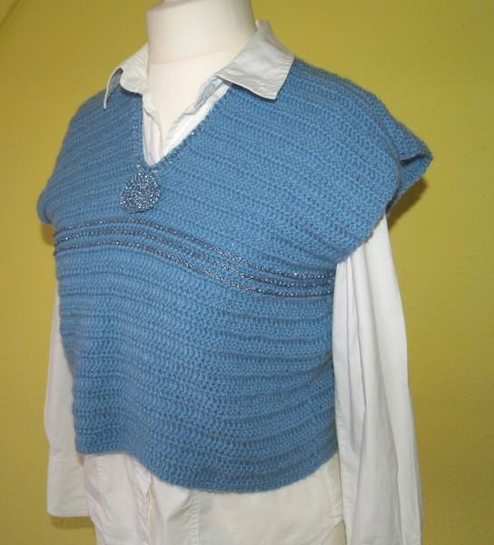 Pullover Häkelpulli Gr. M / L blauer kurzer Pullunder