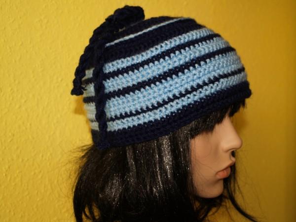 Mütze Beanie Häkelmütze Blue Line Einzelstück