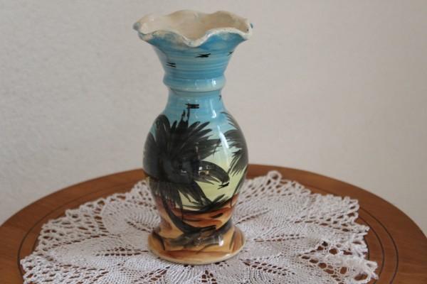 Vase mit Palmen Dekor Vintage