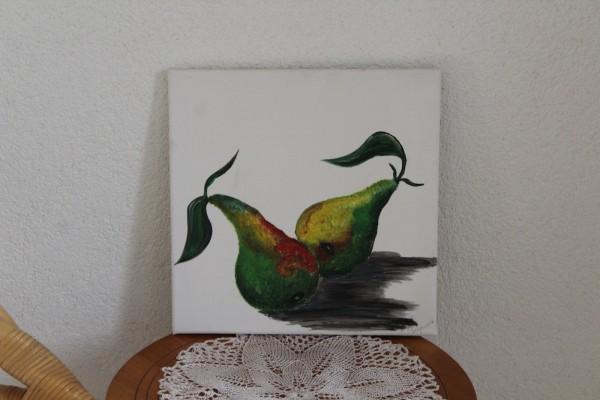 Küchenbild Birnen 30 x 30 handgemaltes Bild für die Küche