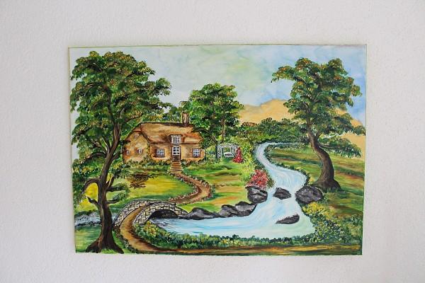 Bild Haus am Fluss handgemalte Landschaft 70 x 50 Acryl Unikat
