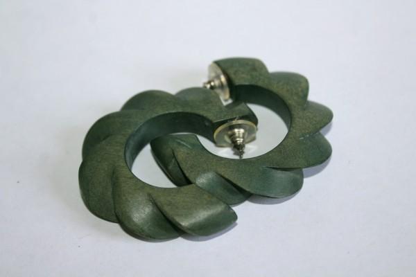 runde Ohrstecker grau grüne Ringe Retro Ohrringe