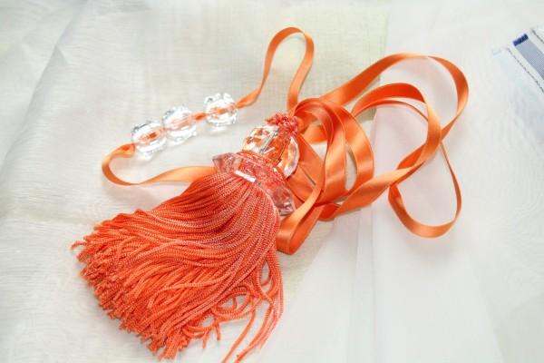 Gardinen Raffhalter orange Vorhanghalter mit Quaste Bommel