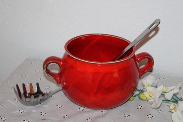 Suppentopf Vorratstopf Ohrentopf rote Keramik getöpfert