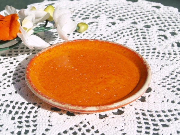 Teller kleiner Unterteller Keramik orange getöpfert