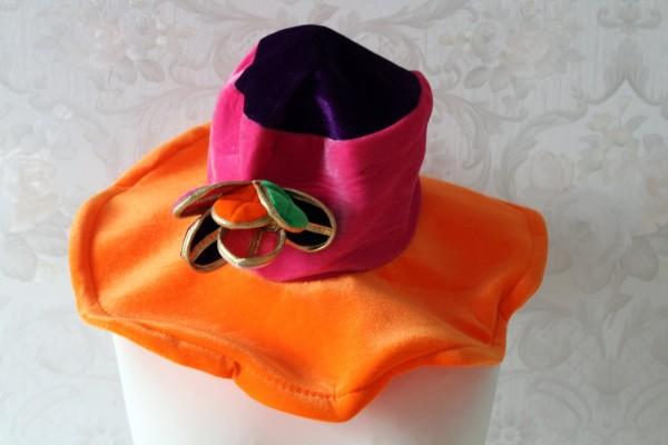 großer bunter Hut aus Samt mit Blume Kostüm Zubehör
