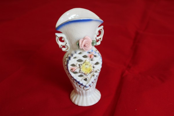 romantische Vase Dekovase mit Blumendekor
