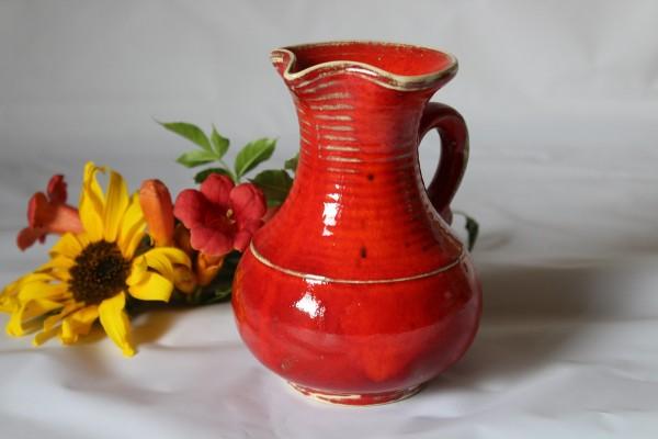 kleiner Krug Weinkrug rote Keramik Mohn Geschirr
