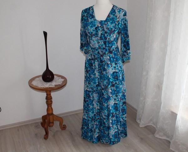 Blaues langes Kleid Gr. M 70er Jahre Blumenmuster