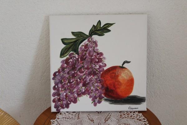 Küchenbild Trauben und Orange 30 x 30 handgemaltes Bild