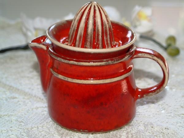 Zitronenpresse Zitruspresse Keramik rot getöpfert